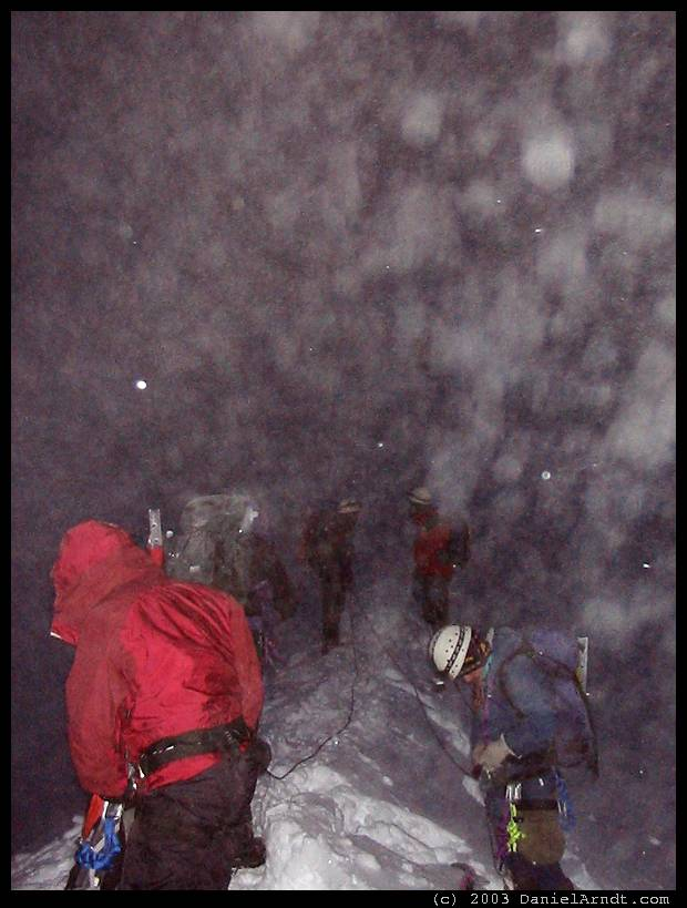 Mount Hood climb: roping up on the Hogsback at 10600 ft before dawn