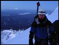 Mount Hood climb: on the summit, looking south into Oregon, Mount Jefferson and the Sisters in the background