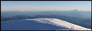 Mount Hood climb: on the summit, looking north into Washington, Mount Saint Helens, Mount Rainier, and Mount Adams