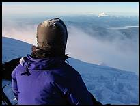 Mount Hood climb: on the summit, Mount Jefferson and the Sisters