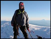 Mount Hood climb: on the summit, Mount Saint Helens and Mount Adams in the background