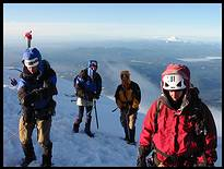 Mount Hood climb: on the summit, Mount Jefferson and the Sisters in the background