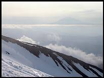 Climb of Mount St. Helens: Mount Adams in the background