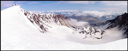 Climb of Mount St. Helens: crater with lava dome
