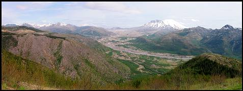 Mount St. Helens: looking over the debris-filled North Fork Toutle River, downed trees