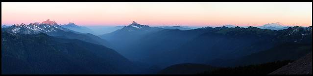 Glacier Peak climb: sunrise, looking over the White Chuck river valley
