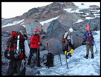Glacier Peak climb: roping up at the Sitkum Glacier