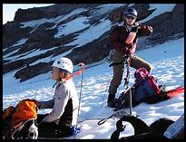 Glacier Peak climb: taking a break on the lower Sitkum Glacier