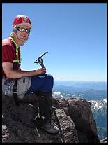 Glacier Peak climb: on the summit, Mount Rainier