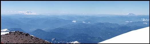 Climb of Mount Rainier: summit view:  Mount Adams, Mount Hood, and Mount St Helens
