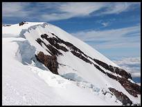 Climb of Mount Rainier: bergschrund below Liberty Cap