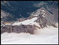 Climb of Mount Rainier: view of Camp Schurman, Steamboat Prow, Inter Glacier, and Glacier Basin