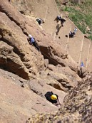 "Climbing at Smith Rock: Brian leading ""Cinnemon Slab"""
