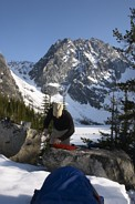 Colchuck Peak climb: Colchuck Peak, drying my stuff after I fell into Colchuck Lake, Jim boiling water