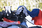 Colchuck Peak climb: drying my stuff after I fell into Colchuck Lake