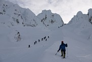 Mount Hood climb: on the Hogsback approaching the Pearly Gates and going around the bergschrund