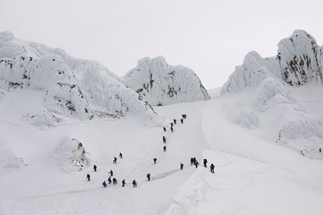 Mount Hood climb: climbers going around the bergschrund