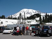 Mount Rainier climb: in the Paradise parking lot, Mount Rainier looming behind