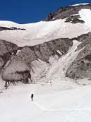 "Mount Rainier climb: Gary crossing the Nisqually glacier, just below the ""fan"""