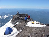 Mount Rainier climb: in camp, Mount St Helens in the background