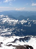 Mount Rainier climb: looking over the Nisqually glacier and the Paradise parking lot to Mount Adams