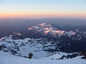 Mount Rainier climb: sun rise early in the morning