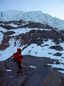 Mount Rainier climb: Gary below the Kautz ice cliffs