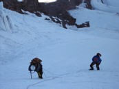 Mount Rainier climb: in the chute