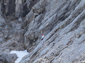 "Alpspitze via KG-Weg: Michael leading a pitch in the upper half of the route (above the ""Herzl"")"