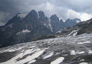 Approach to the Refuge des Ecrins: on the Glacier Blanc with Mont Pelvoux in the background