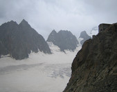 Approach to the Refuge des Ecrins: Refuge des Ecrins high above Glacier Blanc