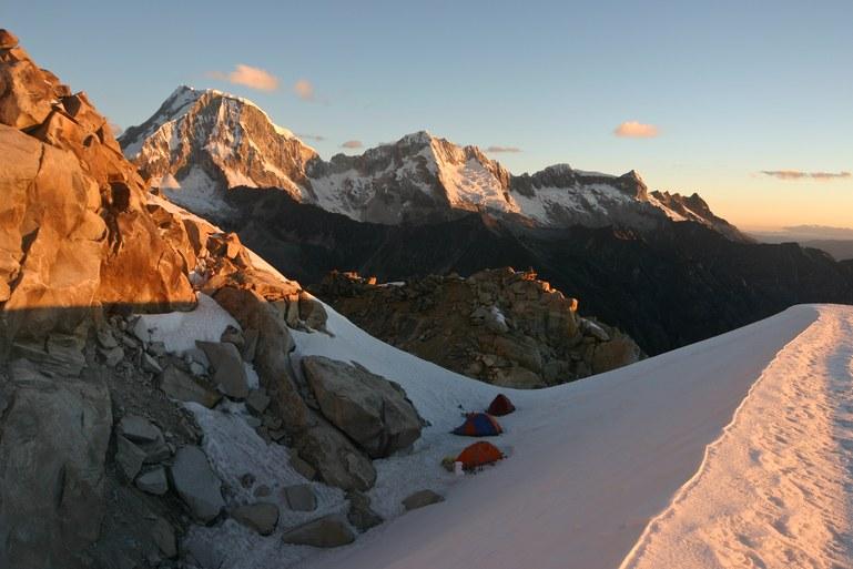 Tocllaraju Glacier Camp: Tocllaraju Glacier Camp at sun set with Ranrapalca (6162 m)